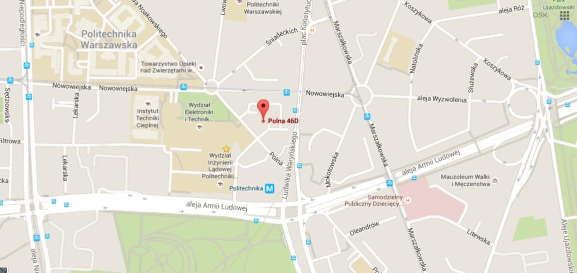 Mapa lokalizacji biura Ośrodka Szkolenia Kierowców Q-Mobil, 00-644 Warszawa ul. Polna 46D lok. 13