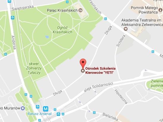 Siedziba Ośrodka Szkolenia Kierowców Yeti w Warszawie